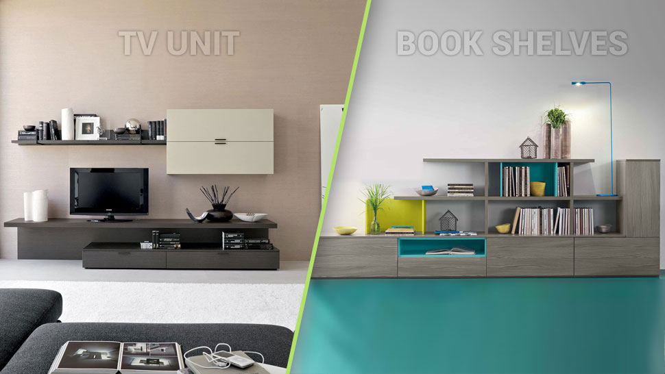 tv unitwith book shelves
